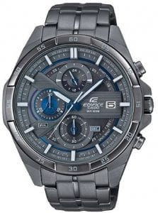 Casio Edifice Quartz Gunmetal Grey Stainless Steel Chronograph Men's WatchThis Casio Edifice Gunmetal Grey Quartz Chronograph Men's Watchprovides speed and intelligence. Firstly, providing dynamic, intelligent support for independent men set the pace ahead of the pack. Also, within the grey ion plated there are three chronographs which are accurate up to 60 seconds. Furthermore, adjacent to the 3 o'clock index is a simplistic date window, which in conjunction with the hands is powered by a quartz movement. Moreover, the dial is surrounded by a grey ion plated stainless steel case and mineral glass. Finally, a grey ion plated stainless steel bracelet can be fastened using a one touch three fold clasp.Finally, this watch has a water resistance of 100 metres, making it suitable for swimming and snorkelling.Key Features:Edifice FamilyGrey Ion Plated Stainless Steel BraceletGrey Ion Plated Stainless Steel CaseQuartz MovementChronographStopwatch100m Water ResistantDate DisplayOne Touch Three Fold ClaspMineral Glass+-20 Seconds Per Month3 Year Battery LifeCaliber: 5451Analogue DisplayThe Family: EdificeCasio's Edifice collection takes its aesthetic inspiration from F1 cars, resulting in a collection of timepieces that combine dynamic form with intricately detailed watch faces. Furthermore, higher end models feature Casio's exclusive Multi Mission Drive movement, in which the watch is comprised of five separate motors to ensure that power is never diverted from the hands. Also, designed to offer what Casio say will be 'Speed and Intelligence,' the Edifice range offers motorsport precision engineering in a watch.The Brand: CasioFirstly, the company entered the timepiece market in 1974 with the release of the Casiotron, the world's first Auto Calendar watch. Only eleven years after entering this field, Casio completely reshaped global thought about the function a watch should perform with the release of the pioneering and now legendary G-Shock family. Innovation and world fir