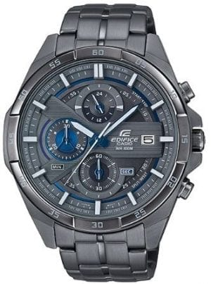Casio Edifice Quartz Gunmetal Grey Stainless Steel Chronograph Men's WatchThis Casio Edifice Gunmetal Grey Quartz Chronograph Men's Watch provides speed and intelligence. Firstly, providing dynamic, intelligent support for independent men set the pace ahead of the pack. Also, within the grey ion plated there are three chronographs which are accurate up to 60 seconds. Furthermore, adjacent to the 3 o'clock index is a simplistic date window, which in conjunction with the hands is powered by a quartz movement. Moreover, the dial is surrounded by a grey ion plated stainless steel case and mineral glass. Finally, a grey ion plated stainless steel bracelet can be fastened using a one touch three fold clasp.Finally, this watch has a water resistance of 100 metres, making it suitable for swimming and snorkelling.Key Features:Edifice FamilyGrey Ion Plated Stainless Steel BraceletGrey Ion Plated Stainless Steel CaseQuartz MovementChronographStopwatch100m Water ResistantDate DisplayOne Touch Three Fold ClaspMineral Glass+-20 Seconds Per Month3 Year Battery LifeCaliber: 5451Analogue DisplayThe Family: EdificeCasio's Edifice collection takes its aesthetic inspiration from F1 cars, resulting in a collection of timepieces that combine dynamic form with intricately detailed watch faces. Furthermore, higher end models feature Casio's exclusive Multi Mission Drive movement, in which the watch is comprised of five separate motors to ensure that power is never diverted from the hands. Also, designed to offer what Casio say will be 'Speed and Intelligence,' the Edifice range offers motorsport precision engineering in a watch.The Brand: CasioFirstly, the company entered the timepiece market in 1974 with the release of the Casiotron, the world's first Auto Calendar watch. Only eleven years after entering this field, Casio completely reshaped global thought about the function a watch should perform with the release of the pioneering and now legendary G-Shock family. Innovation and world firsts have defined the company's history ever since, the most striking of these being the release of the first ever touch screen watch in 1991, 24 years before the Apple Watch, and the first ever wrist camera watch in 2000. Add to this the hipster popularity of the company's retro designs, and Casio has firmly cemented its reputation as a famously reliable and precise name in both analogue and digital watches.Also, if you have any questions please click hereClick here to join our facebook and Instagram!