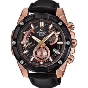 Casio Edifice Quartz Black Rose Gold PVD Stainless Steel Chronograph Men's WatchThis Casio Edifice Black Rose Gold Stainless Steel Chronograph Men's Watch EFR-559BGL-1AVUEF 50mm is an excellent addition to the edifice collection. Starting off with the dial, the black dial has been blended with a rose gold colour to create a beautiful dial. At the 12 o'clock position is the ever present Casio logo as well as the family, edifice. There are three chronographs on the dial as well as simplistic date window adjacent to the 4 o'clock position. The three chronographs are; 24 hour, 60 seconds and a chronominute counter. A black and rose gold stainless steel case sits around the edge of the dial as well as mineral glass, providing the protection it needs. A black leather strap is fastened using a standard buckle to sit comfortably around ones wrist.This watch has a water resistance of 100 metres, making it suitable for swimming but should not be submerged to any significant depths.Key Features:Edifice FamilyChronographBlack & Rose Gold Stainless Steel100m Water ResistantDate WindowNeo DisplayStopwatchMineral GlassBlack Leather StrapStandard Buckle3 Year Battery LifeClassic StyleQuartz MovementAnalogue DisplayThe Brand: CasioCasio was established in 1946 by Japanese engineer Tadao Kashio. The company entered the timepiece market in 1974 with the release of the Casiotron, the world's first Auto Calendar watch. Only eleven years after entering this field, Casio completely reshaped global thought about the function a watch should perform with the release of the pioneering and now legendary G-Shock family. Innovation and world firsts have defined the company's history ever since, the most striking of these being the release of the first ever touch screen watch in 1991, 24 years before the Apple Watch, and the first ever wrist camera watch in 2000. In short, Casio was producing smartwatches decades before the term had even been coined. Add to this the hipster popularity of the comp