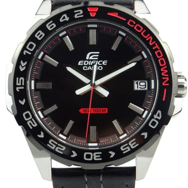 Casio Edifice Quartz Countdown Bezel Stainless Steel Case Black Leather Strap Men's WatchThis Casio Edifice EFV-120BL-1AVUEF is entirely exclusive to us in the UK! This is another bold addition to the respected Edifice family and we could not be more proud to stock this exclusively. This model has a whole range of great features… Firstly, the Neo-Display which provides you with a long term illuminated display even in the dark. Or a battery that has the ability to provide your watch with sufficient energy for approximately 3 whole years.The Edifice family is known for it's ability to produce watches which operate within the highest realms of precision. This is certainly the case with our exclusive. Significantly it features a countdown bezel, which allows you to accurately time whatever you may be doing. The watch also features a tough mineral glass that resists scratching, as well as bezels that are ion plated, which increase scratch resistance. The sleek high quality black leather strap compliments the watch, thus combing durability, style and maximum comfort.A screwed back lock optimises the inner workings of the watch. This protects the inner workings of the watch, whilst providing easy access when changing the batteries for example. The watch is water resistant up to 100 metres, meaning it is perfect for snorkelling or swimming.Key Features:Edifice FamilyCountdown Bezel100m Water ResistantDate WindowBlack DialSteel CaseBlack Leather StrapStandard Buckle41mm CaseQuartz MovementMineral GlassThe Family: EdificeCasio's Edifice collection takes inspiration from F1 cars... Resulting in a collection of timepieces that combine dynamic form with intricate design. Significantly higher end models feature Casio's exclusive Multi Mission Drive movement. These models feature five separate motors to ensure that power is never diverted from the hands. Designed to offer what Casio say will be 'Speed and Intelligence,' the Edifice range offers motorsport precision engineering in 