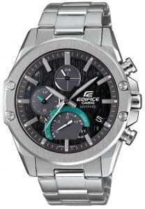 Casio Edifice Slim Line Bluetooth Solar Silver Stainless Steel Men's Watch EQB-1000D-1AERThis Casio Edifice Men's Watch EQB-1000D-1AER is yet another fantastic addition to the Edifice family. This model is the thinnest in the family and it features a smartphone link, making it a standout piece. The Casio engineers have out done themselves by designing a model which is only 8.9mm in depth. This is astounding given that inside of it there is high functionality technology such as Bluetooth and Tough Solar. The previous model was 13mm in depth, which means there has been around a 30% reduction in size.However, it is not to say that the watch has lost out on any feature... It includes a last lap indicator, which is able to link with a smartphone app which will inform the driver of their last lap. Also it features an in-dial solar panel that has the ability to improve power generation. It is also possible to display dual time, through sub-dial. Also to note, the watch uses sapphire glass which improves the watches scratch resistance.Key Features:Edifice FamilyBluetoothTough SolarSilver Stainless SteelBlack DialDate WindowSapphire CrystalDual TimeLast Lap IndicatorDeployment ClaspIn Dial Solar PanelThe Family: EdificeCasio's Edifice collection takes inspiration from F1 cars, resulting in a collection of timepieces that combine dynamic form with intricate design. Higher end models feature Casio's exclusive Multi Mission Drive movement, in which the watch is comprised of five separate motors to ensure that power is never diverted from the hands. Designed to offer what Casio say will be 'Speed and Intelligence,' the Edifice range offers motorsport precision engineering in a watch.The Brand: CasioCasio was established in 1946 by Japanese engineer Tadao Kashio. The company entered the watch market in 1974 with the release of the Casiotron, which was the world's first Auto Calendar watch. Only eleven years after entering this field Casio reshaped global thought about the functio