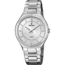 Festina Elegance Silver Stainless Steel Quartz Ladies Watch F20244/1This Festina Elegance Silver Stainless Steel Quartz Ladies Watch F20244/1 is a beautiful addition to a ladies wrist. A silver dial featires the ever present Festina logo just below the 12 o'clock position with the hands powered by a quartz movement. Surrounding the dial is a silver stainless steel case with precious mineral glass sat ontop. Furthermore, a silver stainless steel bracelet can then be fastened using a fold over clasp.This watch has a water resistance of 50 metres, making it suitable for surface swimming.Key Features:Elegance FamilySilver Stainless Steel BraceletSilver Stainless Steel CaseSilver DialQuartz MovementFold Over ClaspAnalogue DisplayMineral Glass50m Water ResistantThe Brand: FestinaBehind a great brand there is always a large group, and behind Festina is the Festina Group. A group that comprises five brands of watches: Festina, Lotus, Jaguar, Candino and Calypso, and two brands of jewellery: Lotus Style and Lotus Silver.