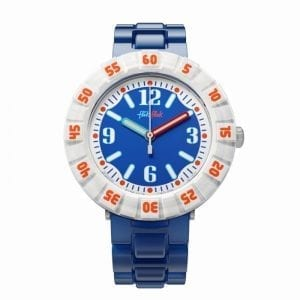 """The Watch: Flik Flak Power Time Snorkelling Blue Orange Kids' WatchDefined by its fresh and vibrant nautical styling, this Flik Flak Power Time Snorkelling Blue Orange Kids' Watch (FCSP058) is guaranteed to remain fashionable and sought after for years to come.Key Features:Quartz MovementLinked BraceletResin Case and BraceletThe Brand: Flik FlakFlik Flak are the world's favourite children's watches. Founded in 1987, the brand is a division of the Swatch group, with its use of the brother and sister pairing of Flik and Flak throughout the collection ensuring that learning to tell the time remains fun and entertaining.Who We AreWatchNation is proud to be an authorized, established and respected supplier of Flik Flak watches. We stock a broad and exciting range of these superb timepieces both online and in store. Visiting us in store, located at 15-17 Charles Street, Hoole, Chester, CH2 3AZ, gives you the opportunity to take a first-hand look at our fantastic range of high-quality timepieces, with our friendly team of staff always on hand to use their decades of experience to offer helpful advice, useful information and expert guidance. If you can't pay a visit to our store, then our online delivery service guarantees that your latest timepiece will go from checkout to your wrist in a fast and reliable manner. These services are all a product of the motto on which WatchNation was founded and will forever operate – """"Time for the People."""""""