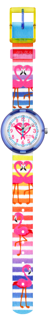 The Watch: Flik Flak Flamily Purple Plastic Case White Textile Strap Kids' Girls Flamingo Watch FPNP029 32mmThis Flik Flak Flamily Kids' Watch (FPNP029) is perfect for the Flamingo lover in your life. It's also machine washable at 40°C and shock resistant; perfect for kids! Key Features:Quartz MovementMachine WashabaleFabric StrapPlastic CaseShockproof The Brand: Flik FlakFlik Flak are the world's favourite children's watches. Founded in 1987, the brand is a division of the Swatch group, with its use of the brother and sister pairing of Flik and Flak throughout the collection ensuring that learning to tell the time remains fun and entertaining.