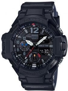 "Casio G-Shock Master of G Gravity Master Mens Watch GA-1100-1A1ERThis Casio G-Shock Master of G Gravity Master Mens Watch GA-1100-1A1ER 56mm adds a touch of class and style to the G-Shock family's legendary tough timekeeping status via its black resin case and strap complimented by white and red accents. This watch is inspired by pilots as part of the air series, featuring a world time mode, thermometer and compass to add with navigation upon peoples travels. This timepiece has been named as the 'premium aviator'. The digital display includes chronographs and day/date display.This timepiece has a water resistance of 200 metres, making it suitable for diving.Key Features:200m Water Resistant+- 15 Seconds Per MonthFive Daily AlarmsAuto CalendarBlack Resin CaseBlack Resin StrapBattery Level Indicator2 Year Battery LifeThermometerCompassTwin SensorsCountdownDisplay IlluminationLow Temperature ResistantMineral GlassMute FunctionShock ResistantWorld TimeVibration ResistantQuartz MovementChronographStandard BuckleThe Family: G-ShockAt a time when watches were seen as fragile, delicate instruments, Casio's head of watch design, Kikuo Ibe, set out in 1981 to create ""a watch that doesn't break, even when dropped."" After 200 prototypes and two years of development, the Casio G-Shock was launched in 1983. Gaining its now legendary toughness from Ibe's revolutionary decision to suspend the module inside a hollow rubber structure, the G-Shock has been the go-to name in superbly durable and precise wristwear ever since.The Brand: CasioCasio was established in 1946 by Japanese engineer Tadao Kashio. The company entered the timepiece market in 1974 with the release of the Casiotron, the world's first Auto Calendar watch. Only eleven years after entering this field, Casio completely reshaped global thought about the function a watch should perform with the release of the pioneering and now legendary G-Shock family. Innovation and world firsts have defined the company's history ever since, the most striking of these being the release of the first ever touch screen watch in 1991, 24 years before the Apple Watch, and the first ever wrist camera watch in 2000. In short, Casio was producing smartwatches decades before the term had even been coined. Add to this the hipster popularity of the company's retro designs, and Casio has firmly cemented its reputation as a famously reliable and precise name in both analogue and digital watches."