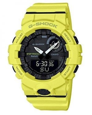 Casio G-Shock Sports Style Bluetooth Steptracker Mens Watch GBA-800-9AER 54mmThis Casio G-Shock Sports Style Bluetooth Steptracker Mens Watch GBA-800-9AER 54mm is a great addition to the G-Shock family. The watch has a black dial displaying a mix of both analogue and digital. The digital display can be found at the bottom of the dial, able to display the day, date and month. A thick yellow resin case sits around the outside of the dial to give it some sturdy protection. To equip this timepiece a yellow resin strap is fastened using a standard buckle.This watch has a water resistance of 200 metres, making it suitable for swimming and diving.Key Features:Sports StyleBluetoothSteptracker200m Water Resistant+- 15 Seconds Per MonthAirplane ModeAlarm FunctionResin StrapAuto Calendar2 Year Battery LifeResin CaseDual Time200m Water Resistant200 Lap MemoryLow Temperature ResistantMineral GlassAndroid & iOS CompatibilityNeobriteShock ResistantStopwatchVibration ResistantThe Brand: CasioCasio was established in 1946 by Japanese engineer Tadao Kashio. The company entered the timepiece market in 1974 with the release of the Casiotron, the world's first Auto Calendar watch. Only eleven years after entering this field, Casio completely reshaped global thought about the function a watch should perform with the release of the pioneering and now legendary G-Shock family. Innovation and world firsts have defined the company's history ever since, the most striking of these being the release of the first ever touch screen watch in 1991, 24 years before the Apple Watch, and the first ever wrist camera watch in 2000. In short, Casio was producing smartwatches decades before the term had even been coined. Add to this the hipster popularity of the company's retro designs, and Casio has firmly cemented its reputation as a famously reliable and precise name in both analog and digital watches.