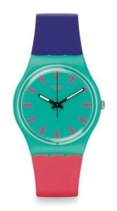 The Watch: Swatch Shunbukin Multi-Coloured Silicone Unisex Watch GG215 34mmThis Swatch ShunbukinGreen Pink BlueUnisexWatch (GG215) is guaranteed to make a statementwith it's bold array of pink, green nd blue block hues.Key Features:Swiss-Made Quartz MovementPlastic CaseSilicone StrapWater Resistant to 30mThe Brand: SwatchSwatch watches are globally-renowned for their trademark combination of quality Swiss watchmaking, pioneering use of plastic cases and straps, and eye-catching designs. There is a Swatch watch to suit every age, taste and lifestyle, with this variety and sense of difference ensuring that Swatch watches remain some of the most popular and sought after currently manufactured.