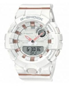 "Casio G-Shock S Series White Resin Bluetooth Quartz Ladies Watch GMA-B800-7AERThis Casio G-Shock S Series White Resin Bluetooth Quartz Ladies Watch GMA-B800-7AER is one of the newest additions to the G-Shock family. This model is host to a whole range of new technologies, which are bound to make your jaw drop. Take for example the Bluetooth feature that can connect to your smartphone, which then enables access to a whole range of functions. The watch follows G-Shock tradition in that it is shock resistant.This model is great for those who partake in sporting or outdoors activity. It includes a stop watch that has 1/100-sec accuracy and a lap memory of 200, that has the ability to store data.. It also includes 5 daily alarms, an automatic calander and 5 different countdown timers. Also a feature for those who may loose things... This watch features a phone finder, and by the push of a button it will activate a bleeping noise from your smartphone.BluetoothShock ResistantMineral GlassBuckle Clasp200m Water ResistancyResin Band46mmQuartzThe Family: G-ShockAt a time when watches were seen as fragile, delicate instruments, Casio's head of watch design, Kikuo Ibe, set out in 1981 to create ""a watch that doesn't break, even when dropped."" The Casio G-Shock was launched in 1983. Gaining its now legendary toughness from Ibe's revolutionary decision to suspend the module inside a hollow rubber structure, the G-Shock has been the go-to name in superbly durable and precise wristwear ever since.The Brand: CasioCasio was born in 1946 by Japanese engineer Tadao Kashio. The company entered the timepiece market in 1974 with the release of the Casiotron, the world's first Auto Calendar watch. Only eleven years after entering this field, Casio completely reshaped global thought about the function a watch should perform with the release of the pioneering and now legendary G-Shock family. Innovation and world firsts have defined the company's history ever since. The most striking of these being the release of the first ever touch screen watch in 1991. 24 years before the Apple Watch, and the first ever wrist camera watch in 2000. In short, Casio was producing smartwatches decades before the term had even been coined. Add to this the hipster popularity of the company's retro designs. Casio has firmly cemented its reputation as a famously reliable and precise name in both analogue and digital watches.If you have any questions please click hereClick here to join our facebookand Instagram!"
