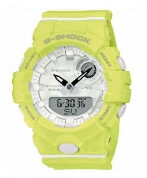 "Casio G-Shock S Series Lime Green Bluetooth Quartz Unisex Watch GMA-B800-9AERThis Casio G-Shock S Series Lime Green Bluetooth Quartz Unisex Watch GMA-B800-9AER is one of the newest additions to the G-Shock family. This model is host to a whole range of new technologies, which are bound to make your jaw drop. Take for example the Bluetooth feature that can connect to your smartphone, which then enables access to a whole range of functions. The watch follows G-Shock tradition in that it is shock resistant.This model is great for those who partake in sporting or outdoors activity. It includes a stop watch that has 1/100-sec accuracy and a lap memory of 200, that has the ability to store data.. It also includes 5 daily alarms, an automatic calander and 5 different countdown timers. Also a feature for those who may loose things... This watch features a phone finder, and by the push of a button it will activate a bleeping noise from your smartphone.BluetoothShock ResistantMineral GlassBuckle Clasp200m Water ResistancyResin Band46mmQuartzThe Family: G-ShockAt a time when watches were seen as fragile, delicate instruments, Casio's head of watch design, Kikuo Ibe, set out in 1981 to create ""a watch that doesn't break, even when dropped."" The Casio G-Shock was launched in 1983. Gaining its now legendary toughness from Ibe's revolutionary decision to suspend the module inside a hollow rubber structure, the G-Shock has been the go-to name in superbly durable and precise wristwear ever since.The Brand: CasioCasio was born in 1946 by Japanese engineer Tadao Kashio. The company entered the timepiece market in 1974 with the release of the Casiotron, the world's first Auto Calendar watch. Only eleven years after entering this field, Casio completely reshaped global thought about the function a watch should perform with the release of the pioneering and now legendary G-Shock family. Innovation and world firsts have defined the company's history ever since. The most striking of these being the release of the first ever touch screen watch in 1991. 24 years before the Apple Watch, and the first ever wrist camera watch in 2000. In short, Casio was producing smartwatches decades before the term had even been coined. Add to this the hipster popularity of the company's retro designs. Casio has firmly cemented its reputation as a famously reliable and precise name in both analogue and digital watches.If you have any questions please click hereClick here to join our facebookand Instagram!"