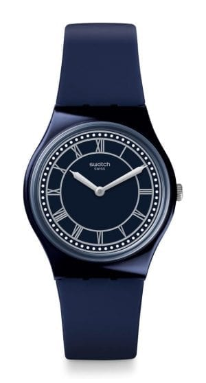 "The Watch: Swatch Blue Ben 34mm Case Mens Watch GN254Defined by its deep blue dial, this Swatch Blue Ben Unisex Watch (GN254) also features roman numerals and a sleek blue silicone strap. Key Features:Swiss-Made Quartz MovementRoman NumeralsPlastic CaseSilicone StrapWater Resistant to 30m The Brand: SwatchSwatch watches are globally-renowned for their trademark combination of quality Swiss watchmaking, pioneering use of plastic cases and straps, and eye-catching designs. There is a Swatch watch to suit every age, taste and lifestyle, with this variety and sense of difference ensuring that Swatch watches remain some of the most popular and sought after currently manufactured. Who We AreWatchNation is proud to be an authorized, established and respected supplier of Swatch watches. We stock a broad and exciting range of these superb timepieces both online and in store. Visiting us in store, located at 15-17 Charles Street, Hoole, Chester, CH2 3AZ, gives you the opportunity to take a first-hand look at our fantastic range of high-quality timepieces, with our friendly team of staff always on hand to use their decades of experience to offer helpful advice, useful information and expert guidance. If you can't pay a visit to our store, then our online delivery service guarantees that your latest timepiece will go from checkout to your wrist in a fast and reliable manner. These services are all a product of the motto on which WatchNation was founded and will forever operate – ""Time for the People."""