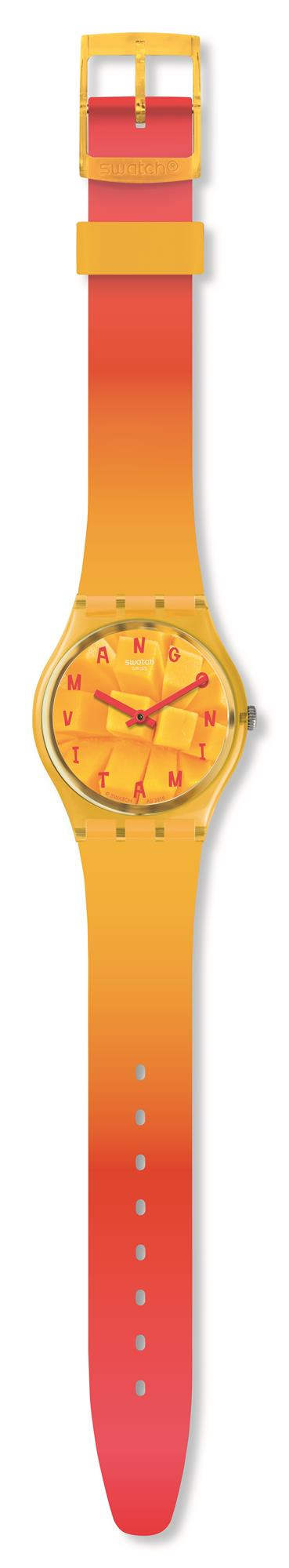 Swatch Energy Coeur De Mangue Mango Dial Unisex Watch GO119 34mmThisSwatch Energy Coeur De Mangue Mango Dial Unisex Watch GO119 34mm brings a sun-kissed design with a mango on the dial. The mango dial is complimented by purple indexes and hands, powered by a quartz movement. The mango is protected by a orange plastic case and glass. An orange silicone strap is then fastened using a standard buckle.This watch has a water resistance of 30 metres, making it suitable for light splashes.Key Features:Mango DialOrange Silicone StrapAnalogue DisplayQuartz Movement30m Water ResistantStandard BuckleThe Brand: SwatchSwatch watches are globally-renowned for their trademark combination of quality Swiss watchmaking, pioneering use of plastic cases and straps, and eye-catching designs. There is a Swatch watch to suit every age, taste and lifestyle, with this variety and sense of difference ensuring that Swatch watches remain some of the most popular and sought after currently manufactured.