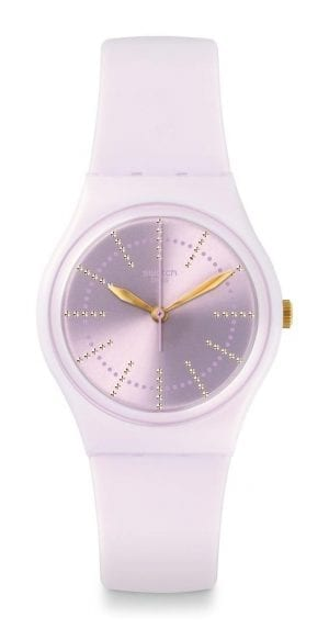 The Watch:Swatch Guimauve 34mm Case Ladies' Watch GP148A stylishly feminine iteration of the Swatch design ethos, this Swatch Guimauve Ladies' Watch (GP148) has its all-purple colouing beautifully complimented by gemstone indexes and gold-coloured hands.Key Features:Swiss-Made Quartz MovementGemstone IndexesPlastic CaseSilicone StrapWater Resistant to 30mThe Brand: SwatchSwatch watches are globally-renowned for their trademark combination of quality Swiss watchmaking, pioneering use of plastic cases and straps, and eye-catching designs. There is a Swatch watch to suit every age, taste and lifestyle, with this variety and sense of difference ensuring that Swatch watches remain some of the most popular and sought after currently manufactured.