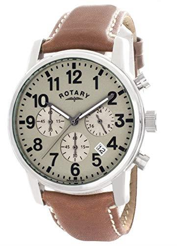 Rotary Silver Stainless Steel Case Brown Leather Strap Mens GS00430/31 41mmThis RotarySilver Stainless Steel Case Brown Leather Strap Mens GS00430/31 makes a sleek and refined style statement. Featuring a stunningcream dial, theGS00430/31 also has a sleek leather strap and a highly practicaldate window. This results in a stunning timepiece that makes the perfect addition to any wrist.Key Features:Quartz MovementChronograph100m Water ResistancyThe Brand: RotaryFamed for his attention to detail and keen business acumen, Moise Dreyfuss established Rotary Watches in the Swiss town of La Chaux-de-Fonds in 1895. After a mere twelve years of trading, two further members of the Dreyfuss family, Georges and Sylvain, opened an office in Britain in order to facilitate the import of the family's watches. The UK proved to be the company's most lucrative market, and with sales booming, Rotary introduced its now iconic winged wheel logo in 1925. Following the outbreak of the Second World War, Rotary became the official timepiece supplier to the British Army, with the government's policy of mass conscription meaning that, once the war ended, there was a Rotary in practically every home. As the twentieth century progressed, Rotary became famed for its sponsorship of sporting events, the most notable of these being its partnership with the British Racing Motors F1 team in 1976 and its teaming up with Chelsea F.C. in 2015. Still operated and owned by the Dreyfuss family to this day, Rotary continues to produce the type of highly affordable and yet incredibly well-made timepieces that have defined the brand's output since its inception.