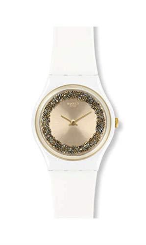 Swatch Sparklenight Gold Dial White Plastic Case White Silicone Strap 34mm Case Ladies' Watch GW199This Swatch Sparklenight Gold Dial Ladies' Watch (GW199) teams a stunning crystal-embossed dial with a clean and alluring white case and strap. Key Features:Swiss-Made Quartz MovementCrystal-Embossed DialPlastic CaseSilicone StrapWater Resistant to 30m The Brand: SwatchSwatch watches are globally-renowned for their trademark combination of quality Swiss watchmaking, pioneering use of plastic cases and straps, and eye-catching designs. There is a Swatch watch to suit every age, taste and lifestyle, with this variety and sense of difference ensuring that Swatch watches remain some of the most popular and sought after currently manufactured.