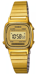Casio Collection Classic Quartz Digital Gold IP Steel Retro Alarm Chronograph Vintage Watch This Casio Collection Women's Watch with Gold Digital Display and Stainless Steel Bracelet LA670WEGA-9EF teams retro Casio styling with trademark precision, reliability, and functionality. A gold digital LCD dial compliments a full gold PVD stainless steel design from the case to the clasp. The timepiece comes with a day and date display as well as an alarm and chronograph feature. Furthermore, a button can be accessed on the side of the case, which can be used as an illuminator function to see the time visibly at night.This watch has a water resistance of 30 metres, making it splash resistant. Meaning that it is not suitable for water related work, swimming or diving. Key Features:Casio CollectionGold IPDigital DisplayStainless Steel BraceletAlarm ChronographIlluminator30m Water ResistantDate DisplayThe Family: Casio ClassicThe Casio Classic Collection includes some the most iconic watches the company has ever made. Popular today due to their retro appeal, refreshingly simple practicality, and understated styling, the Casio Classic Collection of timepieces are truly timeless and appeal to an almost uniquely broad range of people; proof that some things genuinely never go out of style.The Brand: CasioCasio was established in 1946 by Japanese engineer Tadao Kashio. The company entered the watch market in 1974 with the release of the Casiotron, which was the world's first Auto Calendar watch. Only eleven years after entering this field Casio reshaped global thought about the functions a watch should perform. This began with the release of the pioneering and the now legendary G-Shock family.Innovation and world firsts have defined the company's history ever since. The most striking of these being the release of the first ever touch screen watch in 1991, 24 years before the Apple Watch. Also, the first ever wrist camera watch in 2000. Casio have been producing smartwatches decades before the term had even been coined. Casio has firmly cemented its reputation as a famously reliable and precise name in both analogue and digital watches.Who we are:We pride ourselves on being authorised, established and respected sellers of Hamilton products. We stock a wide range of Hamilton models, both online and in store. You can visit us in store, we are located at: 15-17 Charles Street, Hoole, Chester, CH2 3AZ. By visiting us in store you are able to converse first-hand with our fantastic team. They are able to offer you helpful advice regarding our wide range of high-quality watches. However, if you cannot pay a visit to our store, then you can rest assured that we offer an equally excellent online service. We can guarantee the fastest and most reliable delivery services.If you have any questions please click hereClick here to join our facebookand Instagram!