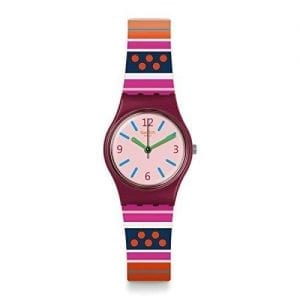 The Watch: Swatch Laraka 25mm Purple Plastic Case Pink Silicone Strap Ladies Girls Watch LP152Boldly styled, this Swatch Laraka Unisex Watch (LP152) teams a vividly-patterned strap with trademark Swatch reliability and precision. Key Features:Swiss-Made Quartz MovementPlastic CaseSilicone StrapWater Resistant to 30m The Brand: SwatchSwatch watches are globally-renowned for their trademark combination of quality Swiss watchmaking, pioneering use of plastic cases and straps, and eye-catching designs. There is a Swatch watch to suit every age, taste and lifestyle, with this variety and sense of difference ensuring that Swatch watches remain some of the most popular and sought after currently manufactured.