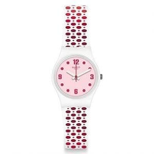 Swatch Pavered White With Pink Dots Silicone Pink Dial Ladies Watch LW163 24mmSwatch Pavered White With Pink Dots Silicone Pink Dial Ladies Watch LW163 is a white silicone strap watch with a variety of different pink shaded dots all over the strap, perfectly counterbalanced with a light pink dial. With this all being underpinned by high-quality Swiss watch making.Key Features:Swiss-made Quartz MovementPlastic caseSilicone strapThe Brand: SwatchSwatch watches are globally-renowned for their trademark combination of quality Swiss watchmaking, pioneering use of plastic cases and straps, and eye-catching designs. There is a Swatch watch to suit every age, taste and lifestyle, with this variety and sense of difference ensuring that Swatch watches remain some of the most popular and sought after currently manufactured.
