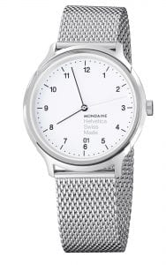 Mondaine Helvetica Stainless Steel Case Mesh Bracelet Men's Watch MH1.R2210.SM 40mmThis Mondaine Helvetica White Dial Mesh Bracelet Unisex Watch (MH1.R2210.SM) has a classy and non pretentious design specific to the Helvetica range. Featuring a stainless steel mesh bracelet and stainless steel case, the is driven by a precise and reliable quartz movement. SKUMH1.R2210.SMFamilyHelveticaMovementQuartzCalibreRONDA 715Dial ColourWhiteCase Size40mmCase Material Stainless SteelStrap TypeMesh BraceletStrap MaterialStainless Steel  Guarantee2-Year Manufacturer'sWater Resistency30m