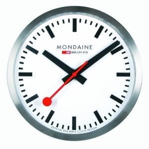 """Mondaine Silver Aluminum Case Clock MSM.25S10 250mmWhether in the home or the office, thisMondaine Silver Aluminum Case Clock MSM.25S10 250mm makes a fine addition to any wall.Key Features:Quartz MovementDust ResistantHardened Mineral CaseThe Family: ClockMondaine clocks are where it all started, with the present-day design proving to be a stylish and practical home accessory decades after its debut.The Brand: MondaineRenowned for their clean styling and trademark easy-to-read dials, Mondaine watches owe their origins to the """"Official Swiss Railways Clock"""" designed by engineer Hans Hilfiker in 1944. It wasn't until 1986 that the first Mondaine wristwatches appeared, with the iconic design licensed from the Federal Swiss Railways. A stunning combination of innovation and simplicity, Mondaine Official Swiss Railways Watches proudly embody superb 20thcentury design."""