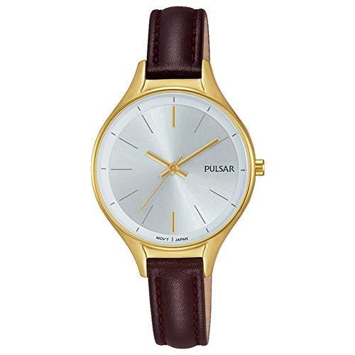 """Pulsar Dress PVD Gold Plated Case Brown Leather Strap Ladies Watch PH8280X1 29mmSleek and stylish, this PulsarDress PVD Gold Plated Case Brown Leather Strap Ladies Watch PH8280X1 29mm has a classic look and feel to it. It is recommended that this timepiece should only be withstood to slight splashes and the rain. The indexes at both 12 and 6 o'clock are gold coloured complete with golden hands of the hour, minute and second. The watch is powered by a quartz movement and has the origin of Japan.Key Features:Silver DialQuartz MovementJapanese MovementSplash ResistantMineral Crystal GlassBuckle ClaspAnalogue DisplayDress RangeThe Brand: PulsarPulsar burst onto watchmaking scene in 1972 with the launch of the world's first LED watch. Since then, the company has been re-launched by legendary watchmaker Seiko, adopting a winning ethos of uniting universal styling with forward-thinking technologies. """"Tell it your way"""" is the motto that Pulsar prides itself on, allowing the wearer to select a watch that perfectly expresses his or hers individual style."""