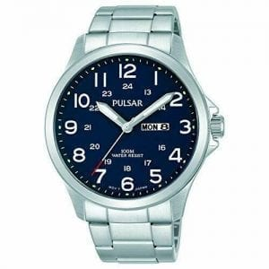 "Pulsar Silver Stainless Steel Blue Dial Mens Watch PJ6095X1 42mmSleek and stylish, this Pulsar Silver Stainless Steel Blue Dial Mens Watch PJ6095X1 42mm  has a striking blue dial combined with a cool white detailing. A date window feature sits at the 3 o'clock position as well as the labelled water resistancy at 6 o'clock of 100m or 10ATM. The dial has both 12 hour and 24 hour display to suit the needs of all. To equip this epic masterpiece a silver stainless steel bracelet is fastened by a folding clasp.Key Features:Analogue Display100m Water ResistantBlue DialSuitable For SwimmingDay/Date BoxPulsar Logo The Brand: PulsarPulsar burst onto watchmaking scene in 1972 with the launch of the world's first LED watch. Since then, the company has been re-launched by legendary watchmaker Seiko, adopting a winning ethos of uniting universal styling with forward-thinking technologies. ""Tell it your way"" is the motto that Pulsar prides itself on, allowing the wearer to select a watch that perfectly expresses his or hers individual style."