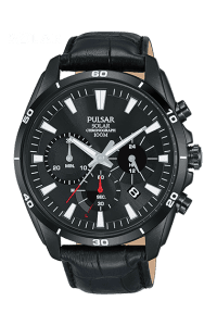 "The Watch: Pulsar Black Stainless Steel Case Black Leather Strap Mens Watch pz5063x1 44mmSleek and stylish, this Pulsar Black Stainless Steel Case Black Leather Strap Mens Watch pz5063x1 also features a black dial, date window and is water resistant to 100m. Key Features:100m Water ResistantMineral Crystal Glass30 Minute ChronographThe Brand: PulsarPulsar burst onto watchmaking scene in 1972 with the launch of the world's first LED watch. Since then, the company has been re-launched by legendary watchmaker Seiko, adopting a winning ethos of uniting universal styling with forward-thinking technologies. ""Tell it your way"" is the motto that Pulsar prides itself on, allowing the wearer to select a watch that perfectly expresses his or hers individual style."