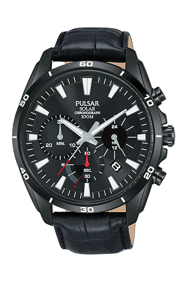 """The Watch: Pulsar Black Stainless Steel Case Black Leather Strap Mens Watch pz5063x1 44mmSleek and stylish, this Pulsar Black Stainless Steel Case Black Leather Strap Mens Watch pz5063x1 also features a black dial, date window and is water resistant to 100m.Key Features:100m Water ResistantMineral Crystal Glass30 Minute ChronographThe Brand: PulsarPulsar burst onto watchmaking scene in 1972 with the launch of the world's first LED watch. Since then, the company has been re-launched by legendary watchmaker Seiko, adopting a winning ethos of uniting universal styling with forward-thinking technologies. """"Tell it your way"""" is the motto that Pulsar prides itself on, allowing the wearer to select a watch that perfectly expresses his or hers individual style."""