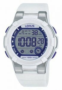 Lorus Sports White Rubber Strap Digital Men's Watch R2359KX9Lorus Sports White Rubber Strap Digital Men's Watch R2359KX9 Features a chronograph digital display that includes a Stopwatch that measures up to 23 hours, 59 minutes in 1/100 second increments. Which is (as well as the ability to record la times) fundamental to track goas and improve yourself in sport.Key Features:Time/Calendar display including hour, minute, second, month, date, & day. Displays as purple digits12/24 hour format. Daily alarm. Second time zoneStopwatch measures up to 23 hours, 59 minutes in 1/100 second incrementsLap time measurement is availableElectro-luminescent backlightWater Resistant to 100mTough plastic case with stainless steel back. Stainless steel buckle100m Water ResistantThe Brand: LorusFirst launched in Europe in 1982, Lorus watches have proven to be an excellent compliment to the hugely popular Pulsar and Seiko brands. Furthermore, that made Lorus' timepieces so instantly sought after was their stunning combination of affordability and advanced watchmaking expertise. Also, borrowing from the huge leaps made by its parent company, Seiko, Lorus now offers a watch to suit all tastes, with this being expertly complimented by solar, digital, duo-display, and alarm-chronograph complications.If you have any questions please click hereClick here to join our facebook and Instagram!