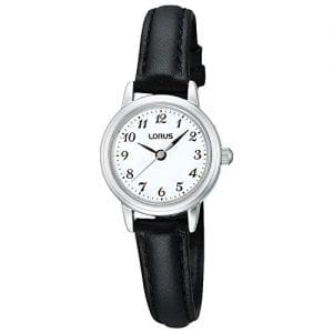 The Watch: Lorus Black Saddle Stitch Leather Strap Palladium plated zinc case Ladies Watch (RG295HX9) 25mm CaseThis Lorus Black Saddle Stitch Leather Strap Ladies Watch (RG295HX9) features a genuine leather strap, a classic white dial, and is water resistant.Key Features:Quartz MovementLeather StrapNumbered IndexesWater ResistantThe Brand: LorusFirst launched in Europe in 1982, Lorus watches have proven to be an excellent compliment to the hugely popular Pulsar and Seiko brands. What made Lorus' timepieces so instantly sought after was their stunning combination of affordability and advanced watchmaking expertise. Borrowing from the huge leaps made by its parent company, Seiko, Lorus now offers a watch to suit all tastes, with this being expertly complimented by solar, digital, duo-display, and alarm-chronograph complications.