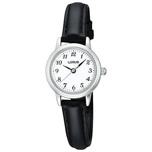 The Watch:Lorus Black Saddle Stitch Leather StrapPalladium plated zinccase Ladies Watch (RG295HX9) 25mm CaseThis Lorus Black Saddle Stitch Leather Strap LadiesWatch (RG295HX9) features a genuine leatherstrap, a classic white dial, and is water resistant.Key Features:Quartz MovementLeather StrapNumbered IndexesWater ResistantThe Brand: LorusFirst launched in Europe in 1982, Lorus watches have proven to be an excellent compliment to the hugely popular Pulsar and Seiko brands. What made Lorus' timepieces so instantly sought after was their stunning combination of affordability and advanced watchmaking expertise. Borrowing from the huge leaps made by its parent company, Seiko, Lorus now offers a watch to suit all tastes, with this being expertly complimented by solar, digital, duo-display, and alarm-chronograph complications.
