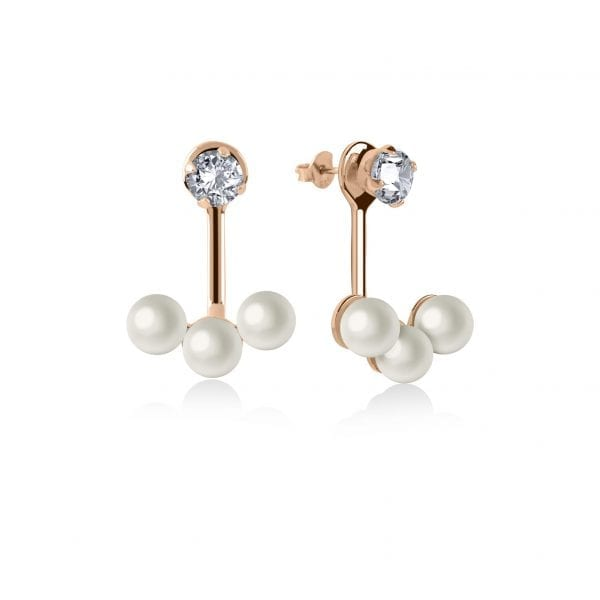 Radley Pearl Triple Polished Rose Gold PVD Sterling Silver Cubic Zirconia Earrings RYJ1044ThisRadley Pearl Triple Polished Rose Gold PVD Sterling Silver Cubic Zirconia Earrings RYJ1044 is a timeless addition to any jewellery set. The piece compromises of three pearls of which are suspended from a cubic zirconia stone. A butterfly clasp is then used to secure the ear to the ring.Key Features:Pearl FamilyTriple PearlsPolished FinishRose Gold PVD Sterling SilverCubic ZirconiaThe Brand: RadleyWe are a London born brand that has a passion for crafting beautiful handbags and accessories that women love. Our approach is simple – to create the perfect combination of style on the outside and functionality on the inside. To achieve this we blend creative design, quality materials and immaculate craftsmanship, not forgetting plenty of personality to finish. We hope you enjoy exploring our world…