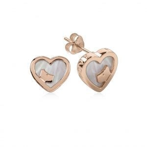 Radley Love Dog Heart Rose Gold PVD Sterling Silver MOP Stud Earrings RYJ1066 This Radley Love Dog Heart Rose Gold PVD Sterling Silver MOP Stud Earrings RYJ1066 is a timeless addition to your jewellery collection. A dogs head sits within a heart shaped rose gold PVD stud earring which in turn can be fastened using a butterfly clasp. Key Features:Love Radley CollectionPolished FinishRose Gold PVD Sterling SilverStud StyleDog Face Butterfly ClaspHeart Shaped  The Family: Love RadleyOur Love Radley collection features Radley in a contemporary all-over hearts print, in an array of colours.The Brand: RadleyWe are a London born brand that has a passion for crafting beautiful handbags and accessories that women love. Our approach is simple – to create the perfect combination of style on the outside and functionality on the inside. To achieve this we blend creative design, quality materials and immaculate craftsmanship, not forgetting plenty of personality to finish. We hope you enjoy exploring our world…