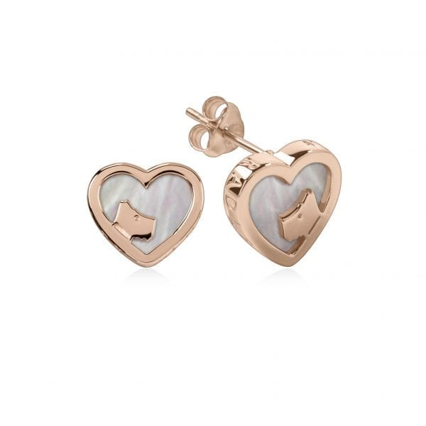 Radley Love Dog Heart Rose Gold PVD Sterling Silver MOP Stud Earrings RYJ1066This Radley Love Dog Heart Rose Gold PVD Sterling Silver MOP Stud Earrings RYJ1066 is a timeless addition to your jewellery collection. A dogs head sits within a heart shaped rose gold PVD stud earring which in turn can be fastened using a butterfly clasp.Key Features:Love Radley CollectionPolished FinishRose Gold PVD Sterling SilverStud StyleDog FaceButterfly ClaspHeart ShapedThe Family: Love RadleyOur Love Radley collection features Radley in a contemporary all-over hearts print, in an array of colours.The Brand: RadleyWe are a London born brand that has a passion for crafting beautiful handbags and accessories that women love. Our approach is simple – to create the perfect combination of style on the outside and functionality on the inside. To achieve this we blend creative design, quality materials and immaculate craftsmanship, not forgetting plenty of personality to finish. We hope you enjoy exploring our world…