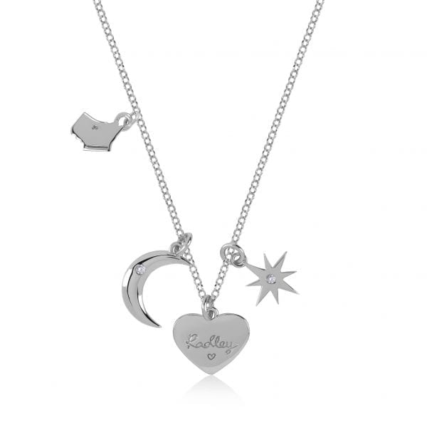 Radley Heart Sterling Silver Charms Necklace RYJ2043This Radley Heart Sterling Silver Charms Necklace RYJ2043 is the perfect addition to any jewellery set. A sterling silver chain link is finished off with four wonderful charms. The charms include; the Radley dog, heart, crescent moon & a polished star. Key Features:Heart CollectionSterling SilverCharms (Dog, Heart, Moon, Star)The Brand: RadleyWe are a London born brand that has a passion for crafting beautiful handbags and accessories that women love. Our approach is simple – to create the perfect combination of style on the outside and functionality on the inside. To achieve this we blend creative design, quality materials and immaculate craftsmanship, not forgetting plenty of personality to finish. We hope you enjoy exploring our world…
