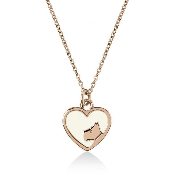 Radley Love Rose Gold PVD Sterling Silver Dog Heart Pendant Necklace RYJ2072This Radley Love Rose Gold PVD Sterling Silver Dog Heart Pendant Necklace RYJ2072 is a perfect addition to any jewellery collection. A rose gold PVD sterling silver chain link is rounded off by a heart shaped pendant with the lovely Radley dog etched onto it.Key Features:Love CollectionRose Gold PVD Sterling SilverDog Heart PendantChain Link  The Family: Love RadleyOur Love Radley collection features Radley in a contemporary all-over hearts print, in an array of colours.The Brand: RadleyWe are a London born brand that has a passion for crafting beautiful handbags and accessories that women love. Our approach is simple – to create the perfect combination of style on the outside and functionality on the inside. To achieve this we blend creative design, quality materials and immaculate craftsmanship, not forgetting plenty of personality to finish. We hope you enjoy exploring our world…