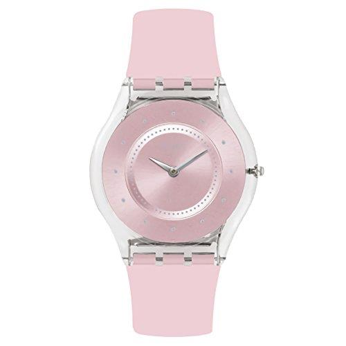 Swatch Time to Swatch Skin Classic Pink Pastel Women's Transparent Plastic Case Silicone Strap Watch 34mm CaseThis Swatch Skin Classic Pink Pastel Women's Silicone Strap Watch (SFE111) is comprised of astylishpink dial, completed with a sleek silver hands, whilst being underpinned with reliable and precise quartz movement.Key Features:Swiss-Made Quartz MovementPink Plastic CaseSilicone StrapWater Resistant to 30m2 Years Manufacturer WarrantyThe Brand: SwatchSwatch watches are globally-renowned for their trademark combination of quality Swiss watchmaking, pioneering use of plastic cases and straps, and eye-catching designs. There is a Swatch watch to suit every age, taste and lifestyle, with this variety and sense of difference ensuring that Swatch watches remain some of the most popular and sought after currently manufactured.