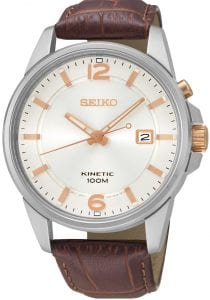 Seiko Kinetic Silver Stainless Steel Brown Leather White Dial Men's Watch SKA669J1 41mmThis Seiko Kinetic Silver Stainless Steel Brown Leather White Dial Men's Watch SKA669J1 41mm is a classic addition to the Seiko brand. A white dial is complimented by rose gold indexes and hands, which in turn are powered by kinetic movement. Adjacent to the 3 o'clock index is a simplistic date window with the ever present Seiko logo at the 12 o'clock position. The dial is then protected by a silver stainless steel case. Finally a brown leather strap can be fastened using a standard buckle. This watch has a water resistance of 100 metres, making it suitable for swimming and snorkelling.For all you Seiko enthusiasts, this premium timepiece has been made and produced in Japan, indicated by the suffix 'J'. Seiko watches made in Japan are notoriously hard to obtain outside of Japan due to the highest quality of craftmanship and astonishing features that come in each individual timepiece. We have a range of Japanese watches here at Watchnation but in limited quantities, so if you are looking to add to your collection then this is the perfect place for you.Key Features: Kinetic FamilyKinetic MovementSilver Stainless Steel CaseBrown Leather StrapRose Gold IndexesWhite Dial Rose Gold HandsDate WindowThe Brand: SeikoSeiko's 135-year history has been marked by a ceaseless determination to innovate in every aspect of the watchmaker's art. By embracing this mantra, Seiko has been responsible for a string of industry-leading advances in the technology of time, such as the world's first quartz watch, the world's first TV watch, and the Seiko Kinetic, the first watch ever to generate its own electricity from the movement of the wearer. Seiko are unique in that they manufacture every aspect of every watch in-house, with this ruthless pursuit of perfection even including growing their own quartz crystals and sapphires.