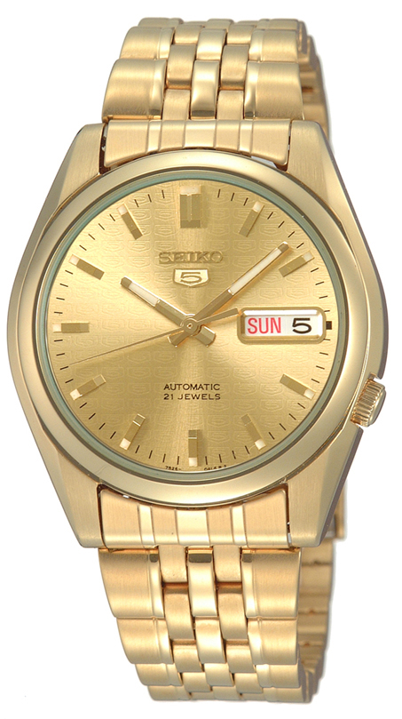 Seiko 5 Automatic Gold PVD Stainless Steel Men's WatchDriven by a 21-jewel automatic movement, this Seiko 5 Automatic Gold PVD Stainless Steel Men's Watch has an exclusive Seiko 7S26 engine. Starting with the dial, the ever present Seiko logo can be found just below the 12 o'clock position. Firstly, at the 3 o'clock position is a simplistic day and date window making for easy reading. Furthermore, around the edges of the dial are index markers coated in a luminous material for visibility at night. Moreover, this dial is protected by a silver stainless steel case and hardened mineral glass. To equip this timepiece, a gold PVD stainless steel bracelet is fastened using a deployment clasp to sit comfortably around ones wrist.This watch has a water resistance rating of 30 metres, meaning it can be subjected to light splashes but should not be used for swimming.Key Features:7S26 Calibre21 JewelAutomatic MovementOpen Case BackDay and Date WindowGold PVD Stainless Steel Case and BraceletSplash ResistantGold DialFold Over ClaspThe Family: Seiko 5The Seiko 5 family has set the standard in affordable, rugged and stylish watches since 1963. They incorporate simplicity, but seriousness. The name of the Seiko 5 derives from its five key attributes, which Seiko promised to include in every watch that belonged to the family. They are: automatic winding, displaying the day and date in a single window, water resistance, a recessed crown at the 4 o'clock position and a durable metal bracelet.1963 marked the year that the Seiko 5 acted as a catalyst in the horological revolution in automatic watchmaking. Even after being in the market for over 50 years, albeit the Seiko 5 still remains as cool and relevant as ever. Though this serves as proof that expert craftsmanship and elegant design will never go out of fashion.The Brand: SeikoCeaseless determination to innovate in every aspect of the watchmaker's art is what defines Seiko's 135-year history. By embracing this ethos, Seiko has bee