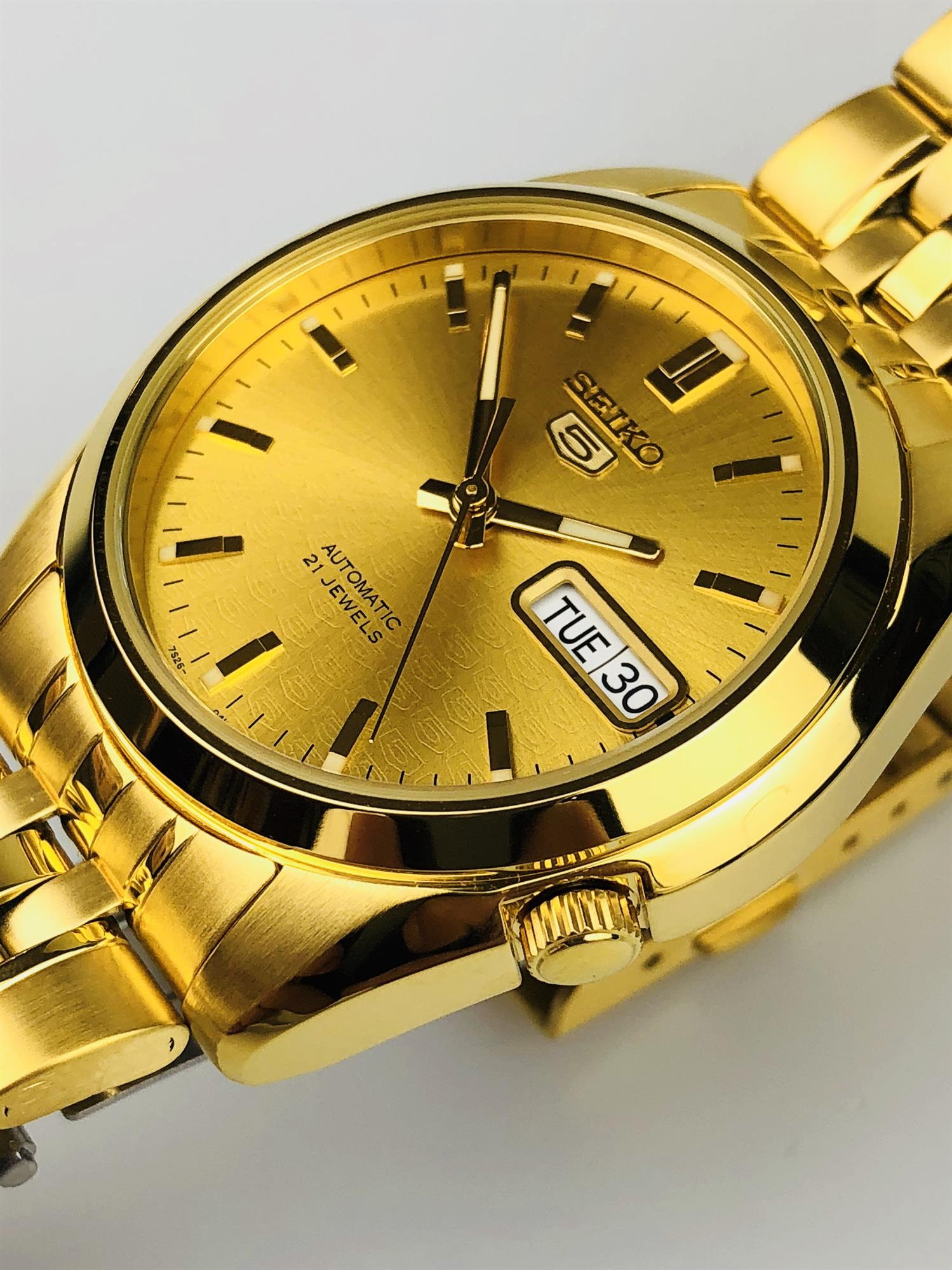 Seiko 5 Automatic Gold PVD Stainless Steel Mens Watch
