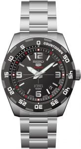 Seiko 5 Automatic Sports Silver Stainless Steel Mens Watch SRPB81K1 44mmDriven by a 23-jewel automatic movement, this Seiko 5 Automatic Sports Silver Stainless Steel Mens Watch (SRPB81K1) 44mm also features a date window and a sleek stainless steel bracelet and case. This timepiece comes complete with some of the best technology, to go with its classic sleek style. In terms of wearability, the watch is resistant up to 100 meters whilst holding its own in the urban lifestyle of todays age. Key Features:   100m Water ResistantAnalogue DisplayGrey DialDate Function5 Sports FamilyAutomatic MovementCaliber: 4R3523 JewelsHardlex CrystalBlack DialAnalog DisplayCountdown FunctionLuminous Hands & MarkersDate DisplayUni-Directional BezelPull/Push CrownSee Through Case BackDeployment Clasp100m Water ResistantCaliber: 4R35Black Dial The Family: Seiko 5The Seiko 5 family has set the standard in affordable, rugged and stylish watches since 1963. Designed to be simple but serious, the Seiko 5 is so-called due to its five key attributes: automatic winding, displaying the day and date in a single window, water resistance, a recessed crown at the 4 o'clock position and a durable metal bracelet. Released in order to meet the demands of the revolutionary baby-boomer generation, the Seiko 5 collection is just as popular to this day, proof that expert craftsmanship and elegant design will never go out of fashion. The Brand: SeikoSeiko's 135-year history has been marked by a ceaseless determination to innovate in every aspect of the watchmaker's art. By embracing this mantra, Seiko has been responsible for a string of industry-leading advances in the technology of time, such as the world's first quartz watch, the world's first TV watch, and the Seiko Kinetic, the first watch ever to generate its own electricity from the movement of the wearer. Seiko are unique in that they manufacture every aspect of every watch in-house, with this ruthless pursuit of perfection even including growing their own quartz crystals and sapphires.