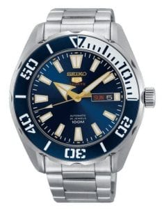 Seiko 5 Sports Silver Stainless Steel Blue Dial Automatic Men's Watch SRPC51K