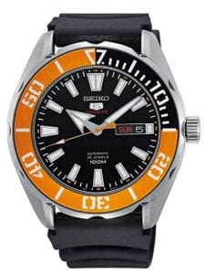 Seiko 5 Sports Black Silicone Strap Orange Bezel Automatic Men's Watch SRPC59KThis Seiko 5 Sports Black Silicone Strap Orange Bezel Automatic Men's Watch SRPC59K is a classic addition to your wrist. A midnight black dial is complimented by white and silver indexes and hands, which in turn are powered by an automatic 4R36 Caliber 24 jewel movement.At the 3 o'clock position is a simplistic day and date window, with the day being able to be displayed in Roman numerals or letter abbreviations. At the 12 o'clock position is the ever present Seiko 5 Sports logo in red and silver. Surrounding the dial is a stainless steel case and hardlex crystal glass. On top of the case is a tango orange and black bezel in increments of ten. On the flip side of the case is a see through window which allows you to see all the precise inner workings of the timepiece. Then a standard buckle can be used to fasten a black silicone strap.This watch has a water resistance of 100 metres, making it suitable for swimming and snorkelling.Key Features:5 SportsSilver Stainless Steel BraceletBlack DialSilver Stainless Steel CaseAutomatic MovementCaliber: 4R3624 JewelsHardlex Crystal GlassLuminous Hands/IndexesDay/Date DisplayRotating BezelScrew Down CrownSee Through Case BackDeployment Clasp100m Water ResistantThe Family: Seiko 5The Seiko 5 family has set the standard in affordable, rugged and stylish watches since 1963. They incorporate simplicity, but seriousness. The name of the Seiko 5 derives from its five key attributes, which Seiko promised to include in every watch that belonged to the family. They are: automatic winding, displaying the day and date in a single window, water resistance, a recessed crown at the 4 o'clock position and a durable metal bracelet.1963 marked the year that the Seiko 5 acted as a catalyst in the horological revolution in automatic watchmaking. Even after being in the market for over 50 years, albeit the Seiko 5 still remains as cool and relevant as ever. Though this serves as proof that expert craftsmanship and elegant design will never go out of fashion.The Brand: SeikoCeaseless determination to innovate in every aspect of the watchmaker's art is what defines Seiko's 135-year history. By embracing this ethos, Seiko has been responsible for a string of industry-leading advances in the technology of time. Notably, the creation of the world's first quartz watch in 1969. Or equally impressive the creation of the world's first TV watch in 1982. And even more relevant today, with our abhorrent use of non-renewable energy sources, Seiko's Kinetic. This watch had the ability to generate its own power from the movement of the wearer, it was released in 1988. The listed technological developments serve as evidence to illustrate the revolutionary impact which Seiko has had on the watchmaking world. They are also markably unique in that they manufacture every aspect of every watch in-house. They even grow their own quartz crystals and sapphires, hence why Seiko are renowned for being watchmaking experts.