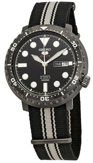 Seiko 5 Sports Bottle Cap Case Black Nylon Strap Automatic Men's Watch SRPC67K