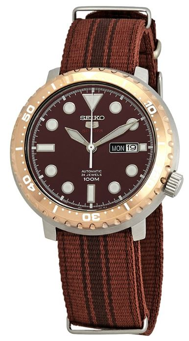 Seiko 5 Sports Bottle Cap Root Beer Brown Nylon Automatic Men's Watch SRPC68K