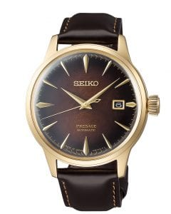 Seiko Limited Edition Presage Old Fashioned Cocktail Brown Gold PVD Men's Watch SRPD36J1This Seiko Limited Edition Presage Old Fashioned Cocktail Brown Gold Coloured Men's Watch SRPD36J1 is part of Seiko's distinctive series of mechanical watches, with a cocktail bar theme, displays delightful charm with subtle sophistication. Classic cocktails mixed by and award winning bartender Hisashi Kishi provide the inspiration for the exciting blend of colours in this collection, such as the dark brown of an Old Fashioned. A cocktail brown dial is compimented by gold PVD stainless steel indexes and hands which in turn are powered by an automatic 23 jewel 4R35 movement.  Adjacent to the 3 o'clock index is a simplistic date window. Surrounding the dial is hardlex crystal glass and a beautiful gold PVD stainless steel case. Finally, a stitched brown calfskin leather strap can be fastened using a three fold clasp.This watch has a water resistance of 50 metres, making it suitable for surface swimming.For all you Seiko enthusiasts, this premium timepiece has been made and produced in Japan, indicated by the suffix 'J'. Seiko watches made in Japan are notoriously hard to obtain outside of Japan due to the highest quality of craftmanship and astonishing features that come in each individual timepiece. We have a range of Japanese watches here at Watchnation but in limited quantities, so if you are looking to add to your collection then this is the perfect place for you.Key Features:Limited Edition 8,000 PiecesPresage FamilyOld Fashioned Cocktail InspiredBrown DialGold PVD Steel CaseBrown Leather StrapDate WindowAutomatic Movement50m Water ResistantHardlex Crystal Glass+-45 Seconds Per DayThree Fold Clasp23 JewelsRotating Compass Inner Ring The Brand: SeikoSeiko's 135-year history has been marked by a ceaseless determination to innovate in every aspect of the watchmaker's art. By embracing this mantra, Seiko has been responsible for a string of industry-leading advances in the technology of time, such as the world's first quartz watch, the world's first TV watch, and the Seiko Kinetic, the first watch ever to generate its own electricity from the movement of the wearer. Seiko are unique in that they manufacture every aspect of every watch in-house, with this ruthless pursuit of perfection even including growing their own quartz crystals and sapphires.