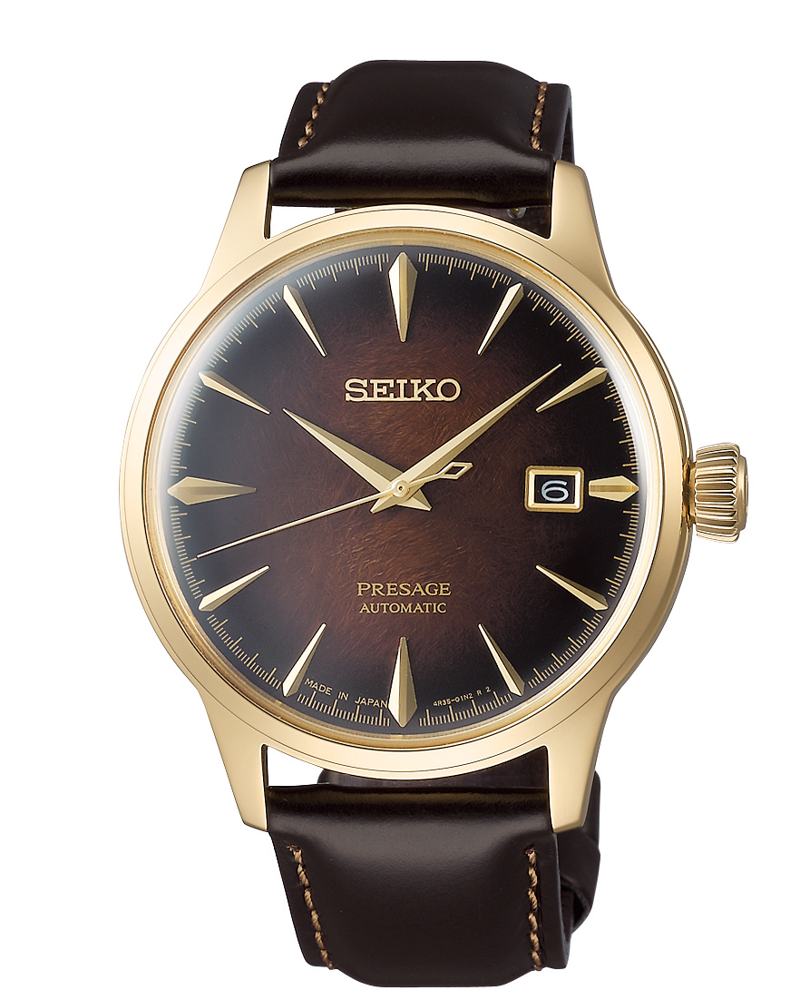 Seiko Limited Edition Presage Old Fashioned Cocktail Brown Gold PVD Men's Watch SRPD36J1ThisSeiko Limited Edition Presage Old Fashioned Cocktail Brown Gold Coloured Men's Watch SRPD36J1 is part of Seiko's distinctive series of mechanical watches, with a cocktail bar theme, displays delightful charm with subtle sophistication. Classic cocktails mixed by and award winning bartender Hisashi Kishi provide the inspiration for the exciting blend of colours in this collection, such as the dark brown of an Old Fashioned. A cocktail brown dial is compimented by gold PVD stainless steel indexes and hands which in turn are powered by an automatic 23 jewel 4R35 movement. Adjacent to the 3 o'clock index is a simplistic date window. Surrounding the dial is hardlex crystal glass and a beautiful gold PVD stainless steel case. Finally, a stitched brown calfskin leather strap can be fastened using a three fold clasp.This watch has a water resistance of 50 metres, making it suitable for surface swimming.For all you Seikoenthusiasts, this premium timepiece has been made and produced in Japan, indicated by the suffix 'J'. Seiko watches made in Japan are notoriously hard to obtain outside of Japan due to the highest quality of craftmanship and astonishing features that come in each individual timepiece. We have a range of Japanese watches here at Watchnation but in limited quantities, so if you are looking to add to your collection then this is the perfect place for you.Key Features:Limited Edition 8,000 PiecesPresage FamilyOld Fashioned Cocktail InspiredBrown DialGold PVD Steel CaseBrown Leather StrapDate WindowAutomatic Movement50m Water ResistantHardlex Crystal Glass+-45 Seconds Per DayThree Fold Clasp23 JewelsRotating Compass Inner RingThe Brand: SeikoSeiko's 135-year history has been marked by a ceaseless determination to innovate in every aspect of the watchmaker's art. By embracing this mantra, Seiko has been responsible for a string of industry-leading advances in the technology 
