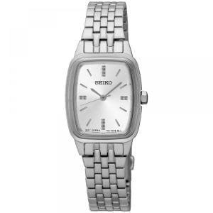 Seiko Tonneau Silver Stainless Steel Case Silver Stainless Steel Strap Ladies Watch SRZ469P1 22mmDriven by a quartz movement, this Seiko Tonneau Silver Stainless Steel Case Silver Stainless Steel Strap Ladies Watch SRZ469P1 offers superb watchmaking expertise at unrivalled value. The timepiece is perfect for Seiko enthuasists, in particular fans of quartz movement.Key Features:50m Water ResistantRectangle Case ShapeFold Over ClaspQuartz MovementAnalogue DisplayThe Brand: SeikoSeiko's 135-year history has been marked by a ceaseless determination to innovate in every aspect of the watchmaker's art. By embracing this mantra, Seiko has been responsible for a string of industry-leading advances in the technology of time, such as the world's first quartz watch, the world's first TV watch, and the Seiko Kinetic, the first watch ever to generate its own electricity from the movement of the wearer. Seiko are unique in that they manufacture every aspect of every watch in-house, with this ruthless pursuit of perfection even including growing their own quartz crystals and sapphires.