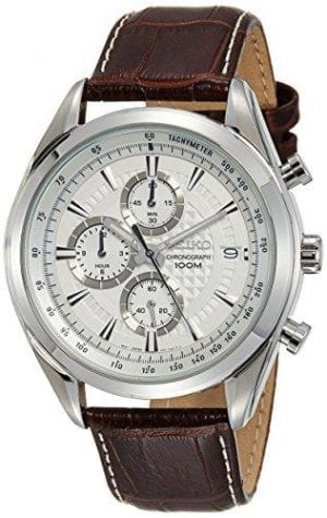 Seiko Dress Quartz Chronograph White Dial Mens Watch SSB181P1 45mmDriven by aquartz movement, this SeikoDress Quartz Chronograph White Dial Mens Watch SSB181P1 45mm offers superb watchmaking expertise at unrivalled value. Working through the white dial clockwise, a 60 minute chronograph sits just below the 12 o'clock index perfect for timing a quick run and jog. At the 3 o'clock position the ever present Seiko logo sits adjacent to a date window. By the 6 o'clock position another chronograph is found, with this one being more precise perfect for sprinting. Finally, a 12 hour chronograph is found by the 9 o'clock position to be used to time over a long period. Around the outer rim a tachymeter can be used to measure speed, distance and time, again a perfect fit for a fitness fanatic. Furthermore, this watch has a water resistance of 100 metres meaning it is suitable for swimming but should not be used for any form of diving. To protect this precise watchmaking a sturdy silver stainless steel case holds hardlex crystal glass around it. Finally, a stylish dark brown stitched leather strap is securely fastened a buckle clasp.This timepiece is perfect for Seiko enthuasists, in particular fans of quartz movement.Key Features:Quartz MovementChronograph FeatureCaliber: 8T67Hardlex CrystalWhite DialBatons Dial MarkersLuminous Hands MarkersTachymeter FeatureDate DisplayBuckle Clasp100m Water ResistantSolid Case BackThe Brand: SeikoSeiko's 135-year history has been marked by a ceaseless determination to innovate in every aspect of the watchmaker's art. By embracing this mantra, Seiko has been responsible for a string of industry-leading advances in the technology of time, such as the world's first quartz watch, the world's first TV watch, and the Seiko Kinetic, the first watch ever to generate its own electricity from the movement of the wearer. Seiko are unique in that they manufacture every aspect of every watch in-house, with this ruthless pursuit of perfection even includi