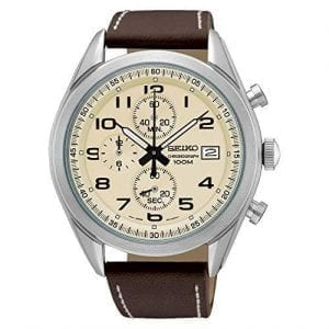 Seiko Chronograph Quartz Cream Dial Brown Leather Stitched Strap Mens Watch SSB273P1 45mmThis Seiko Chronograph Quartz Cream Dial Brown Leather Stitched Strap Mens Watch SSB273P1 45mm is a delightful addition to the Seiko brand. A cream dial compromises of three chronographs and a simplistic date window. The chronographs are used to measure time in hours, minutes and seconds. The cream dial is complimented by black accents with the hands powered by a quartz movement. The hands are coated in LumiBrite, allowing for easy visibility at night. The dial is protected by a silver stainless steel case and mineral crystal glass. A dark brown leather stitched strap is then fastened using a standard buckle. This watch has a water resistance of 100 metres, making it suitable for swimming and snorkeling. Key Features:ChronographQuartz MovementCream DialBrown Leather Stitched Strap100m Water ResistantDate WindowSilver Stainless Steel CaseBrown Leather White Stitched StrapCaliber: 8T67Analogue DisplayLumiBriteStandard BuckleHardlex Crystal Glass  The Brand: SeikoSeiko's 135-year history has been marked by a ceaseless determination to innovate in every aspect of the watchmaker's art. By embracing this mantra, Seiko has been responsible for a string of industry-leading advances in the technology of time, such as the world's first quartz watch, the world's first TV watch, and the Seiko Kinetic, the first watch ever to generate its own electricity from the movement of the wearer. Seiko are unique in that they manufacture every aspect of every watch in-house, with this ruthless pursuit of perfection even including growing their own quartz crystals and sapphires.