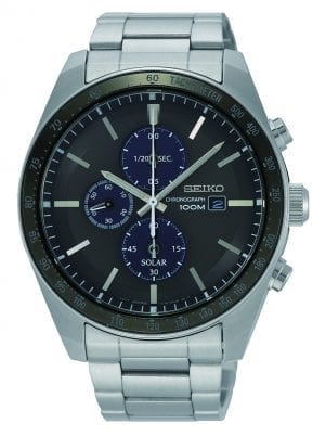Seiko Solar Chronograph Stainless Steel Black Dial Mens Watch SSC715P1 43mmPart of Seiko's solar series, this Seiko Solar Chronograph Stainless Steel Black Dial Mens Watch SSC715P1 43mm is a stunning addition to the Seiko lineup. In terms of the black dial, three chronographs can be found at the 12, 6 & 9 o'clock positions up to 60 minutes in 1/20. Additionally, at the 3 o'clock position is a simplistic date window and the ever present Seiko logo. Both hands and indexes on the dial are coated in LumiBrite, allowing for easy visibility at night. The sleek dial is protected by hardlex glass and a silver stainless steel case. The bezel comes complete with a tachymeter used to measure speed and distance. Finally, this timepiece can be equipped by fastening a three fold clasp to sit comfortably around ones wrist.This epic timepiece is perfect for those who enjoy swimming and snorkleing with a water resistance of 100 metres.Silver Stainless Steel CaseHardlex Crystal GlassCalibre V176Solar Movement6 Month Operation Fully Charged+- 15 Seconds Per MonthThree Fold ClaspLumiBrite100m Water ResistantChronographDate DisplayThe Family: ProspexThe Seiko Prospex family uses Seiko's innovative ethos to combat the watchmaker's greatest challenge, adventure sports. Whether at sea, on land or in the sky, this collection of timepieces will deliver trademark Seiko precision and reliability in even the most adverse of weather conditions.The Brand: SeikoSeiko's 135-year history has been marked by a ceaseless determination to innovate in every aspect of the watchmaker's art. By embracing this mantra, Seiko has been responsible for a string of industry-leading advances in the technology of time, such as the world's first quartz watch, the world's first TV watch, and the Seiko Kinetic, the first watch ever to generate its own electricity from the movement of the wearer. Seiko are unique in that they manufacture every aspect of every watch in-house, with this ruthless pursuit of perfection even including growing their own quartz crystals and sapphires.